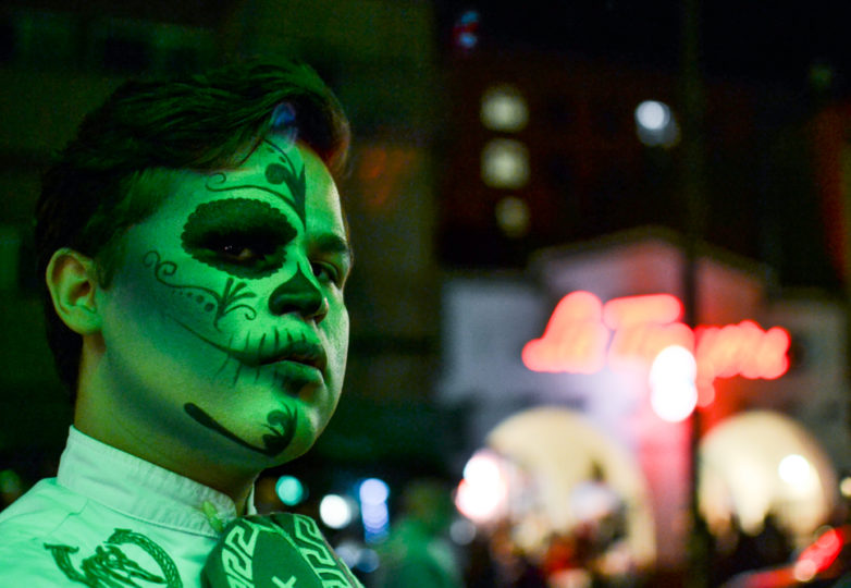 A participant poses for a portrait during the Dia de Muertos celebrations at the Mission Cultural Center for Latino Arts in San Francisco's Mission district, Friday November 2, 2018. Photo: Mabel Jiménez/Calle 24