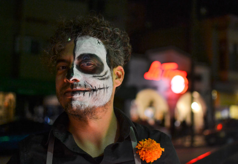 Jesus Varela poses for a portrait during the Dia de Muertos celebrations outside the Mission Cultural Center for Latino Arts in San Francisco's Mission district, Friday November 2, 2018. Photo: Mabel Jiménez/Calle 24