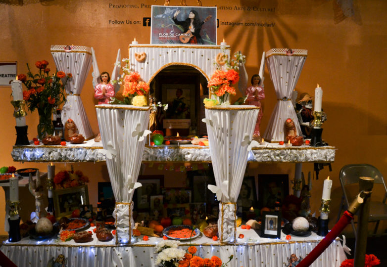 An altar is displayed in the main lobby at Mission Cultural Center during the Dia de Muertos celebrations in San Francisco's Mission district, Friday November 2, 2018. Photo: Mabel Jiménez/Calle 24