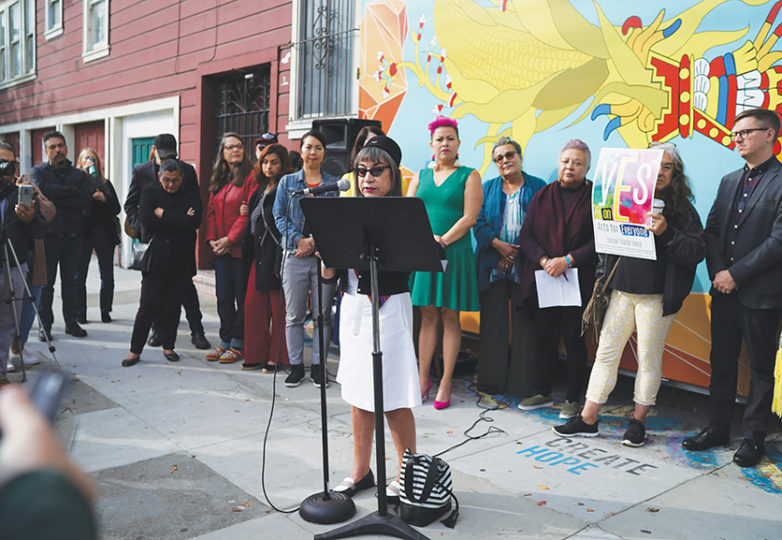 With Galería de la Raza on the verge of losing its iconic space at the corner of 24th and Bryant streets, Chicana artist Lorraine Garcia-Nakata speaks during a press conference on Oct. 29, stressing the importance of Latinx art spaces. Photo: George Eduardo Barahona