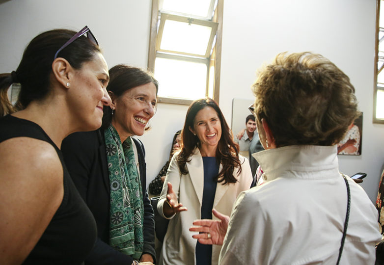 Claudia Volpi, co-chair of marketing for La Scuola International, Valentina Imbeni, Head of La Scuola International, Serra Goldman, Board of Directors co-chair, & Jerilyn Gelt of Catholic Charities, all converse while waiting for Mayor London Breed at the Catholic Charities Mission Point location opening reception/blessing on Friday, Nov. 9 in San Francisco, Calif. (Photo: Adelyna Tirado)