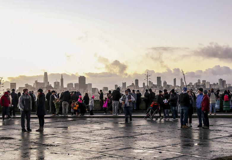 Thousands gather before sunrise for the Indigenous Peoples' Thanksgiving Sunrise Gathering on Alcatraz Island, Nov. 22. Photo: Adelyna Tirado