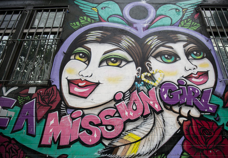 Agana's mural at the office of Mission Girls, at 24th and Mission streets, Sept. 29, 2018. Photo: Amanda Peterson