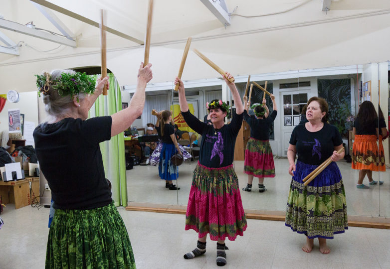 Students of Halau Makana practice the Hula with a substitute teacher, Dorothy Bolmer at Island Hawaiian Studios in Alameda on Nov. 26, 2018. Photo: Amanda Peterson