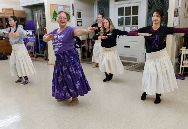 Dancers practice the Hula with the teacher and owner of the studio Kumu Lani at Island Hawaiian Studios in Alameda, Nov. 26, 2018. Photo: Amanda Peterson