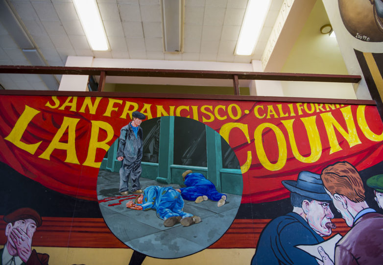 A detail shot of Chuck Sperry's 1934 General Strike mural located inside the Redstone Building, formerly known as the Redstone Labor Temple, at 16th Street and Capp Street in the Mission, Feb. 12, 2019. Photo: Beth LaBerge