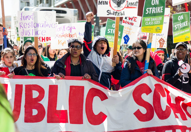 Marchers show their support and enthusiasm at a rally in downtown Oakland, for teachers who are currently on strike,  Feb. 21, 2019. Photo: Amanda Peterson