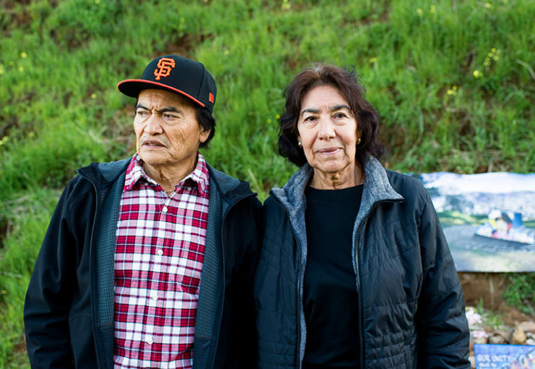 Refugio and Elvira Nieto, parents of Alex Nieto,  during a remembrance of his death 5 years earlier, in Bernal Heights Park on Mar. 21, 2019. Photo: Beth LaBerge