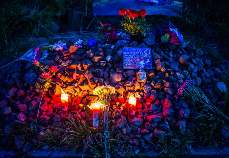 A makeshift memorial for Alex Nieto on the 5 year anniversary of his death, in Bernal Heights Park on Mar. 21, 2019. Beth LaBerge