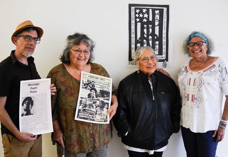 "(From left) ""Remember Los Siete"" curator Fernando Martí and Los Siete activists Judy Drummond, Yolanda López and Donna Amador, pose for a portrait on March 18 at Acción Latina. Photo: Alexis Terrazas"