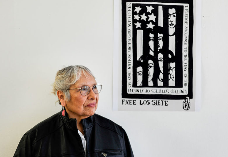 Revered artist Yolanda López, who created posters for Los Siete and illustrated for Basta Ya!, poses for a portrait on March 18 at Acción Latina. Photo: Alexis Terrazas