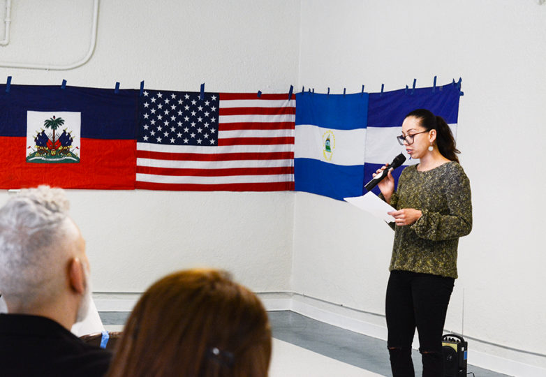 Jennifer Varela (Left), a Deferred Action for Childhood Arrival (DACA) recipient from Honduras shares her story about applying for DACA and how being a part of the program has allowed her to have more education and job opportunities at La Iglesia San Antonio de Padua in San Francisco, on March 10, 2019. The National TPS Alliance has united with DACA recipients to form a campaign that would allow them to apply for permanent residency according to Jose Mejia, a coordinator of the National TPS Alliance and member of the Save TPS Northern California Committee. Photo: Jocelyn Carranza