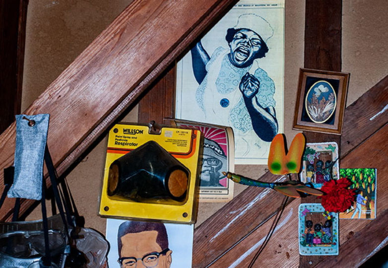 Poster illustrations and knick knacks are seen on the walls of Emory Douglas' studio in San Francisco on April 9, 2019. Photo: Natasha Dangond