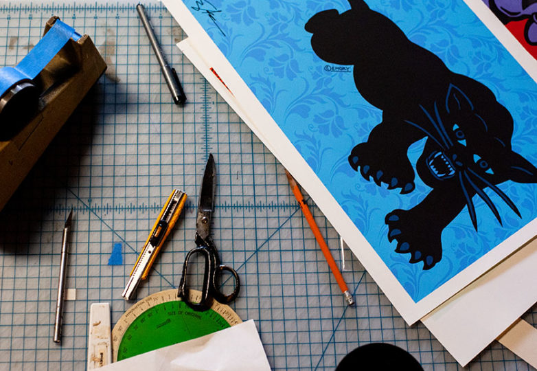 Art tools sit on Emory Douglas' work table inside his studio in San Francisco on April 9, 2019. Photo: Natasha Dangond