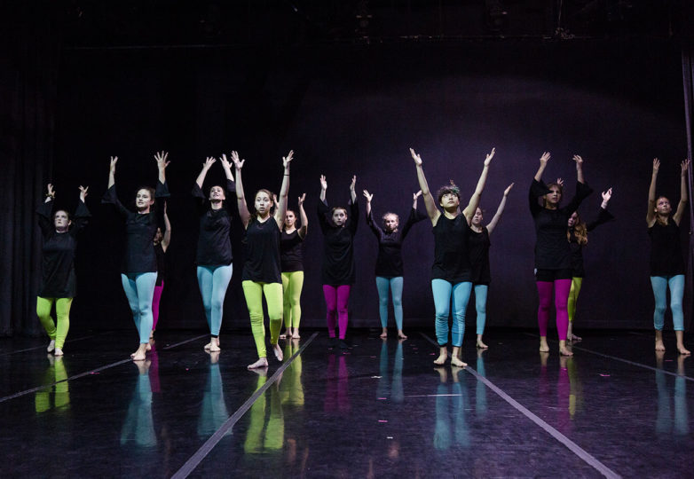 Grrrl Brigade, the all-girl Dance Brigade program, practices a dance at a dress rehearsal at Dance Mission Theatre on April 7, 2019. Photo: Amanda Peterson