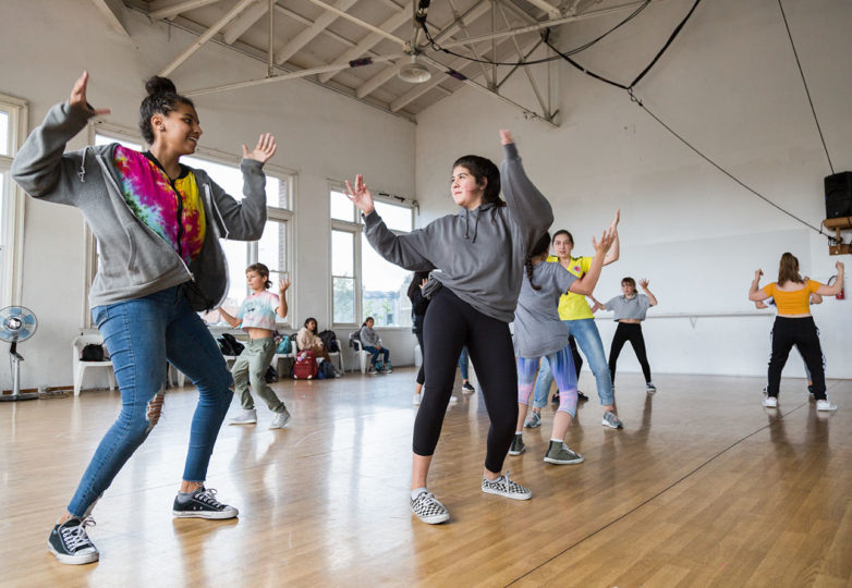 Grrrl Brigade students practice hip-hop dance in class at Dance Mission Theatre on April 2, 2019. Photo: Amanda Peterson