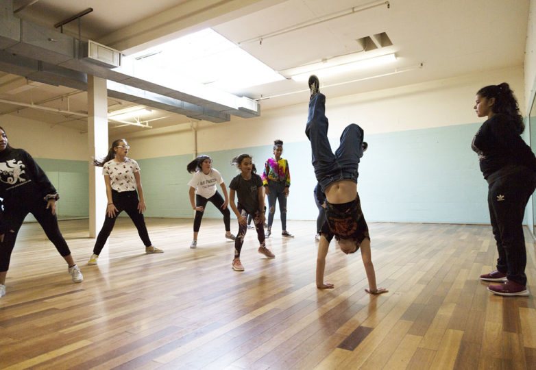 Grrrl Brigade students practice their dance during hip-hop class (for ages 9-18) at Mission Cultural Center on April 2, 2019. Photo: Amanda Peterson