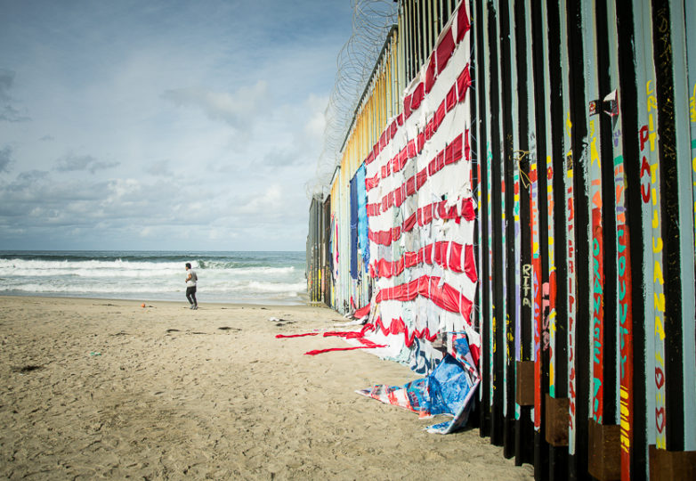 The westernmost point of the wall diving the US/Mexico border in the Playas de Tijuana neighborhood. March 9, 2019. Photo: Mabel Jiménez