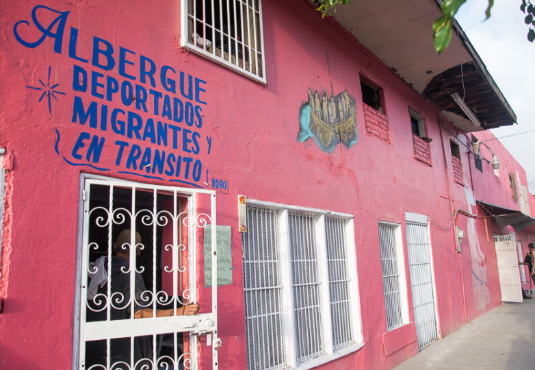 Exterior view of Hotel Migrante, a shelter for men who are deported or in transit. The space has recently begun welcoming some families due to an increase of need for shelter space, February 28, 2019. Photo: Mabel Jiménez