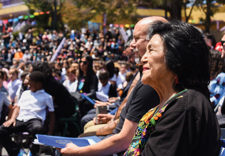 Labor leader and civil rights activist Dolores Huerta sits while waiting to be called on stage to speak to the community on May 17, 2019. Photo: Alejandro Galicia Diaz
