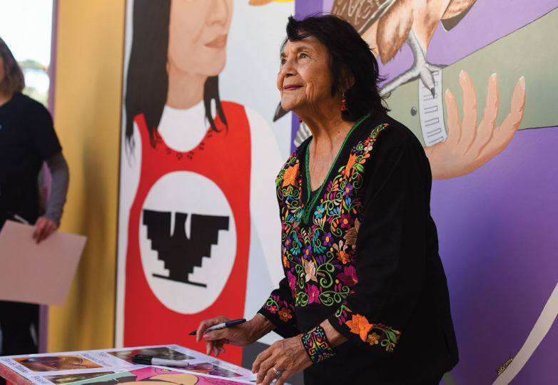 Labor leader and civil rights activist Dolores Huerta greets and meets supporters at a celebration for the renaming of an elementary school in her honor, May 17, 2019. Photo: Alejandro Galicia Diaz