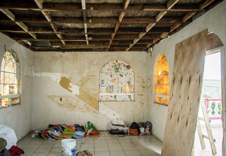 The second floor at Casa de Luz, a new LGBT friendly migrant shelter in Tijuana. The building had long been unoccupied and had to be cleaned out after squatters filled it with trash and stole sinks windows amongst other parts of the building, March 11, 2019. Photo: Mabel Jiménez