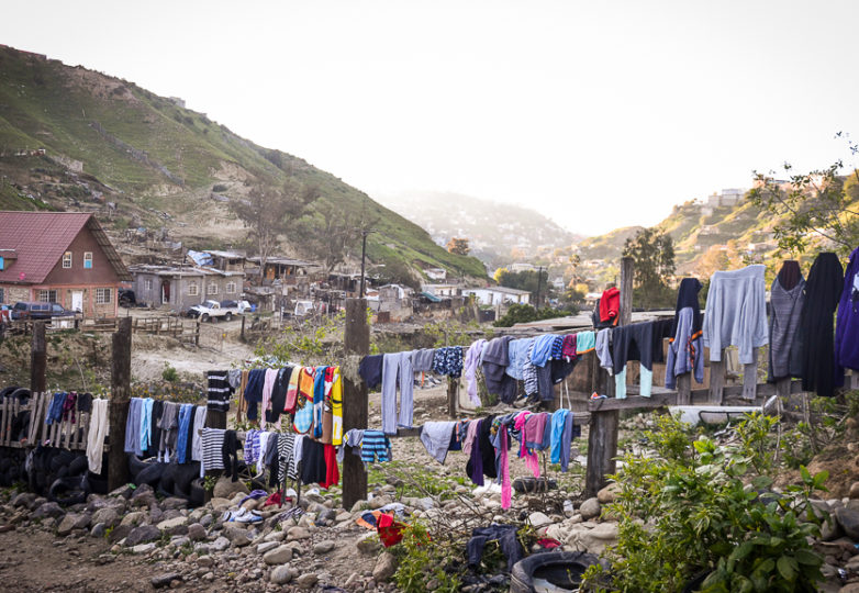 Laundry is hung out to dry at Embajadores de Jesus church and community, also known as Little Haiti, in the Cañón del Alacrán neighborhood in Tijuana, México, Feb. 27, 2019. Though it was originally established to house Haitian families, it has recently begun receiving a Central American population as well. Photo: Mabel Jiménez
