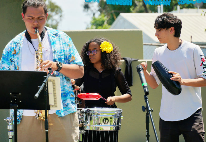 The Latin Jazz Youth Ensemble opens up the show for the Mission Youth Arts Festival at La Raza Park in San Francisco on Sunday, June 9, 2019.