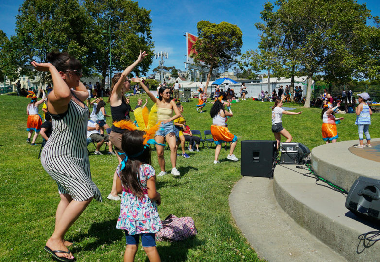 Members of Loco Bloco youth ensemble perform choreography from Carnaval, mixing traditional drums and electronic drums to make a different style of drumming, June 9, 2019.