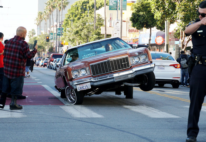 Lowriders gather on Mission Street during the annual King of the Streets event, presented by The San Francisco LowRider Council, July 13, 2019. Photo: Iván Hernández