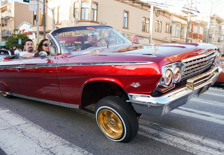 Lowriders gather on Mission Street during the annual King of the Streets event, presented by The San Francisco LowRider Council, on July 13, 2019. Photo: Iván Hernández